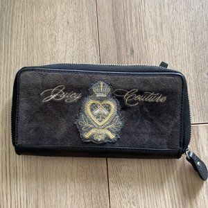 JUICY COUTURE Black & Embroidered Velour Wallet